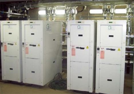 Instalación geotérmica que permite suministrar simultáneamente calefacción, aire acondicionado y ACS.