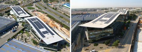 Sistema Evalon Solar instalado por intemper en el edificio Parc Logistic de la zona Franca en Barcelona.