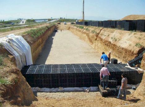 Colocación de los bloques de drenaje