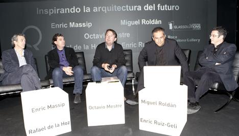 De izq. a dcha. los arquitectos Rafael de la Hoz, Enric Massip, Octavio Maestre, Enric Ruiz-Geli y Miguel Roldán