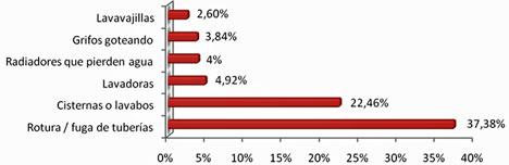 Principales causas de reparaciones relacionadas con fontanería en 2010 – Fuente: Reparalia (elaboración propia)