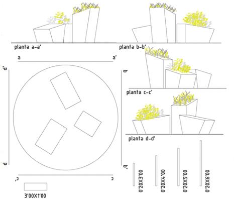 Planta y alzado rotonda del CO2