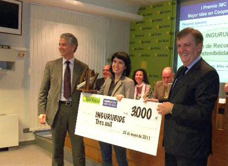 INGURUBIDE Centro de Recursos para la Sostenibilidad, premiado en el I Premio a la Mejor Idea en Cooperación Empresarial organizado por Innovation Meeting Club e Ipar Kutxa.
