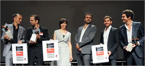 Ganadores de los Holcim Awards Oro, Plata y Bronce 2011 Europa (de izda. a dcha): Tim Edler (Oro), Carlos Arroyo and Vanessa Cerezo (Plata) y Tanguy Vermet, Samuel Nageotte and Philippe Rizzotti (Bronce).
