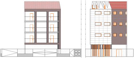 Edificio FBAL, alzados, fachada sur y norte