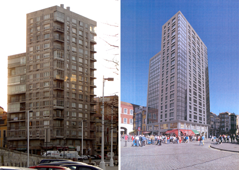 Antes y después de la rehabilitación energética Edificio Plaza del Marqués, Gijón