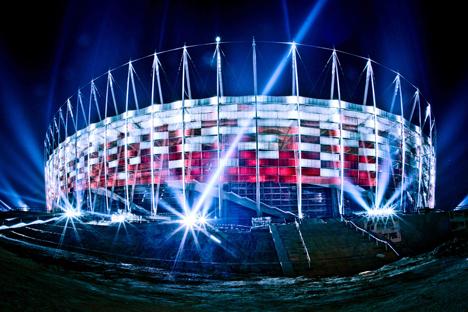 Fachada exterior del Estadio Nacional de Varsovia
