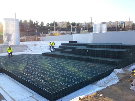 La empresa Graf ha participado en la construcción de un depósito de infiltración mediante sus bloques de drenaje de polipropileno reciclado en la remodelación del parque de la Avenida del Estaut
