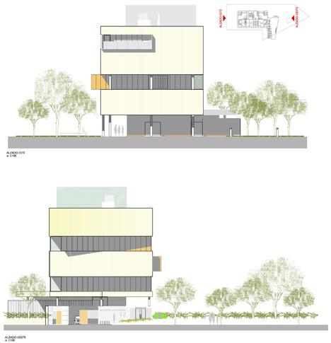 Proyecto de Viviendas Sostenibles en Rivas Vaciamadrid de TOUZA Arquitectos, alzado este (arriba) y alzado oeste (abajo)