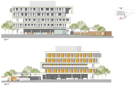 Proyecto de Viviendas Sostenibles en Rivas Vaciamadrid de TOUZA Arquitectos, alzado sur (arriba) y alzado norte (abajo)