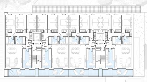 Proyecto de Viviendas Sostenibles en Rivas Vaciamadrid de TOUZA Arquitectos, plano distrubución tercera planta
