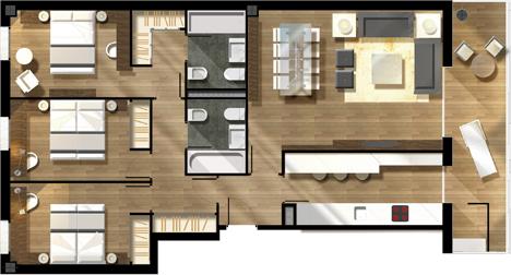 Proyecto de Viviendas Sostenibles en Rivas Vaciamadrid de TOUZA Arquitectos, plano distribución de una de las viviendas