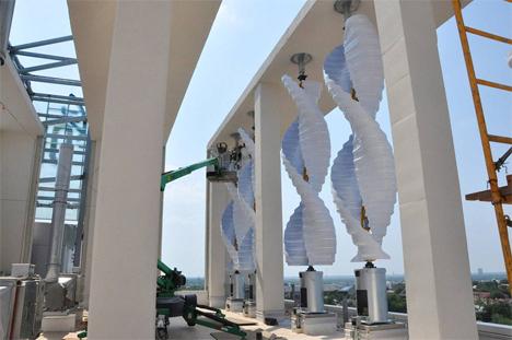 Instalación de los aerogenerdaores en la Fundación Oklahoma Medical Research (OMRF)