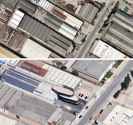 ubicación del edificio, antes y despues de la nueva sede de Instalaciones Fojansa