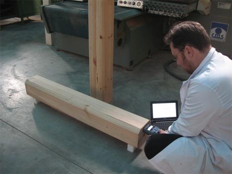 Evaluación no destructiva de madera laminada encolada