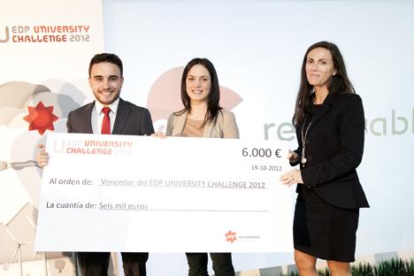 Alumnos de la Universidad Politécnica de Ingeniería de Gijón, recogen el primer premio University Challenger de energías renovables de EDP