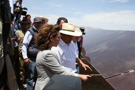 Marta Martínez, consejera delegada de T-Solar y Ollanta Humala, Presidente de Perú