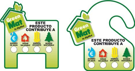 Etiquetas de la línea de productos sostenibles GreenMat, de BigMat