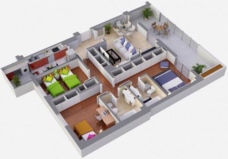 Cooperativa Arroyo Bodonal, plano vivienda de 3 dormitorios