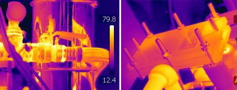 Termografía de unas tuberías y un intercambiador
