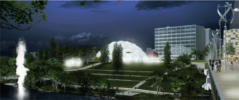 Vista noctura con la iluminación de la Plaza Milenio