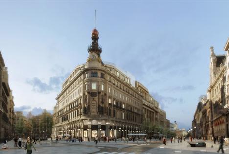 Proyecto Centro Canalejas, Vista esquina calles Alcalá-Sevilla  Infografía preliminar. Pendiente de definir