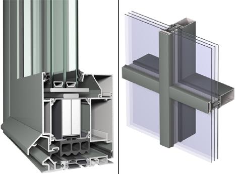 Izq.: Puerta CS 104 (variante del componente certificado PH con panel aislante) y dcha.: Sistema para Muro Cortina CW 50-HI