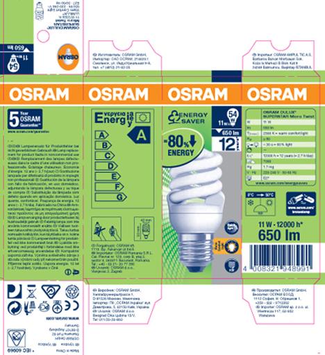 Etiquetado de las bombillas Osram