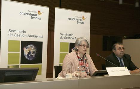 La vicepresidenta y consejera de Economía, Hacienda, Industria y Empleo del Gobierno de Navarra, Lourdes Goicoechea, y el director general de la Fundación Gas Natural Fenosa, Pedro-A. Fábregas