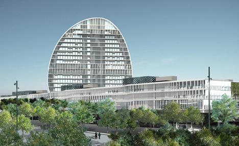 La Vela, Edificio Principal de la nueva sede de BBVA en Madrid Panorámica general de la torre La Vela y de la nueva sede de BBVA en Madrid