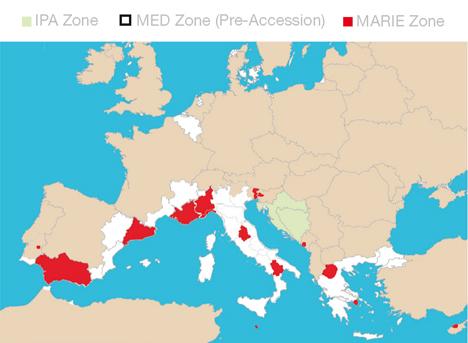 Figura 1 Regiones Mediterráneas que participan en el proyecto MARIE