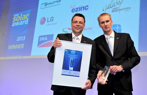 SMA Solar Technology AG (SMA) ha sido galardonada con el Intersolar AWARD en la feria Intersolar Europe 2013 en Múnich