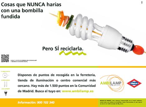 Cartel campña Ambilamp en colaboración con Metro Madrid