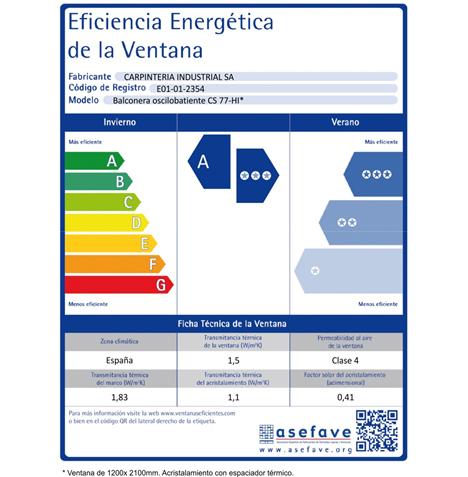 Ejemplo de Etiqueta de Eficiencia Energética de una ventana con sistema CS 77-HI de Reynaers Aluminium