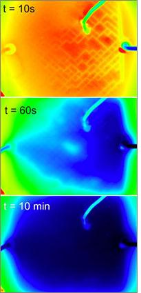 El sistema circulatorio artificial puede enfriar un panel de ventana de cristal significativamente - suficiente, si se utiliza a lo largo de un edificio, para ahorrar cantidades significativas de energía y cortar los costes de refrigeración. Crédito: Instituto Wyss