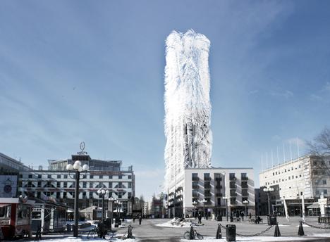 El proyecto de ampliación de la Torre Söder en Estocolmo con filamentos piezoelectricos que captan la energía