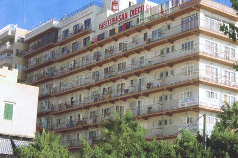 Fachada del hotel San Diego, en Palma de Mallorca antes de la reforma