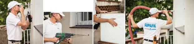 Proceso rehabilitación energética fachadas mediante insuflación mecánica de Lana Mineral: inspección cavidades, perforación puntos de insuflación, muestra material aislante, insuflado cámaras de aire