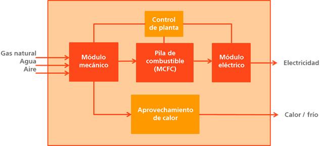 esquema de los principales módulos de una planta de cogeneración con sistema de pila de combustible