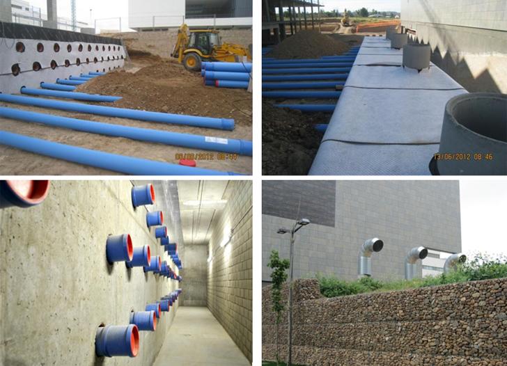 Construcción del sistema, cámara de recepción de los tubos, y la vista desde el exterior de tubos geotérmicos