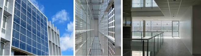 Diversas vistas del muro fotovoltaico de doble piel