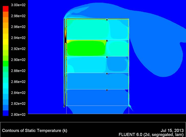 Contornos de gradiente de temperatura en pretratamiento de aire por chimenea solar