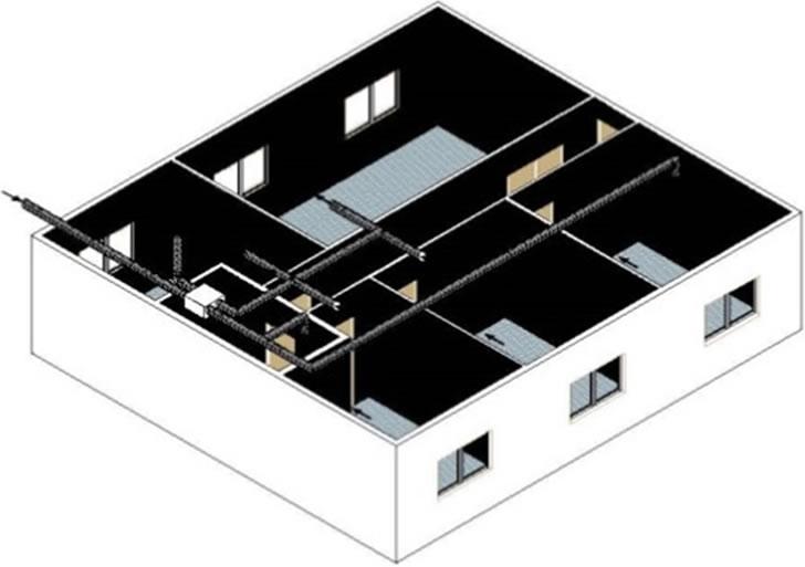 Esquemas de sistemas de recuperación de calor de aire de expulsión en edificación residencial