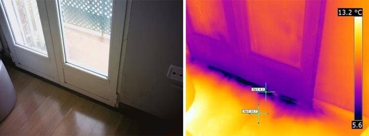 imagen visual e infrarroja de entrada de aire exterior, puerta.
