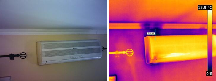 imagen visual e infrarroja de entrada de aire exterior, aire acondicionado.