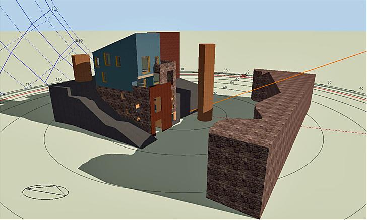 Representación gráfica del modelo de simulación con elementos de sombra