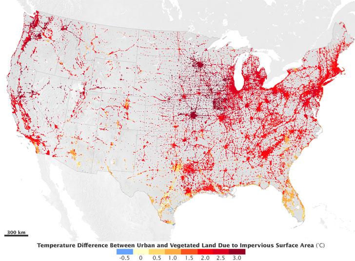 Diferencia de temperaturas en Estados Unidos.