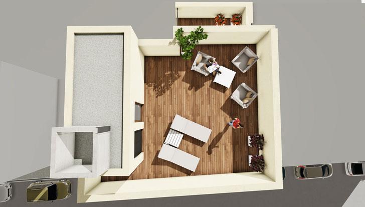 Visión aérea vivienda de madera de House Habitat