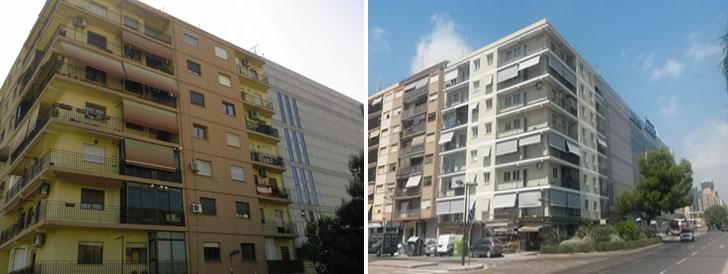 Edificio antes y después de la rehabilitación.