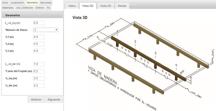 Calculo de estructuras de una viga de madera con E-struc.